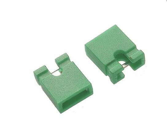 Height 6mm Green Mini Jumper Connector For 2.54 mm Pin Header 2 Poles 30m Ohms