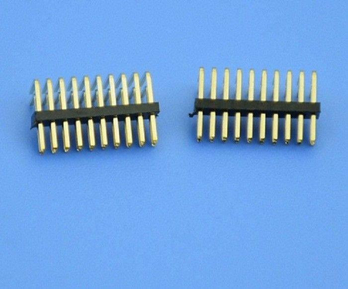 JVT 1.27mm Pitch PCB Pin Header Connector Dual Row Right Angle 10 Poles Gold Plated